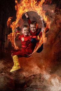 Capow Superhero, two boys